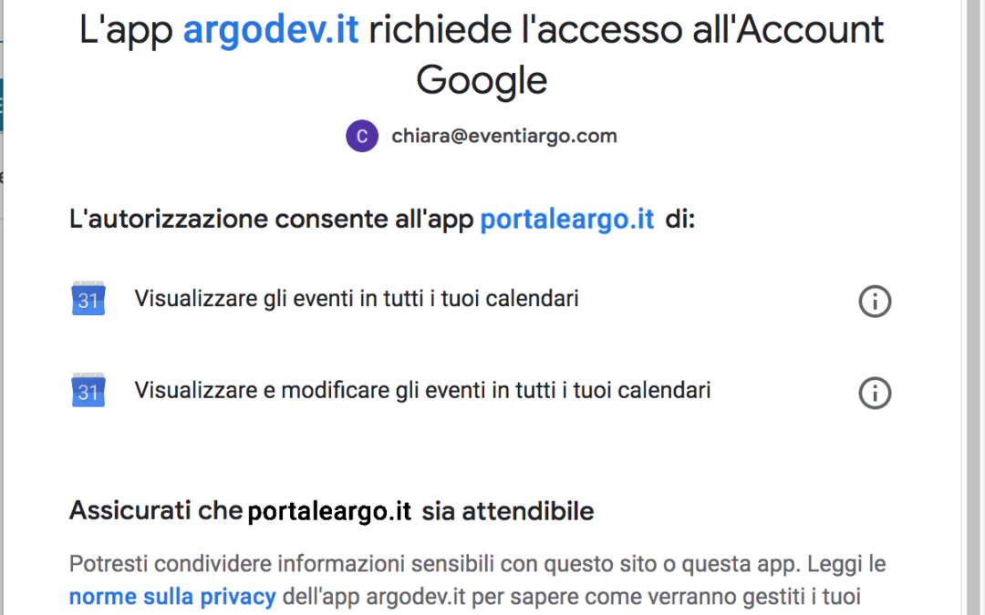Eventi Argo con link a Google Meet